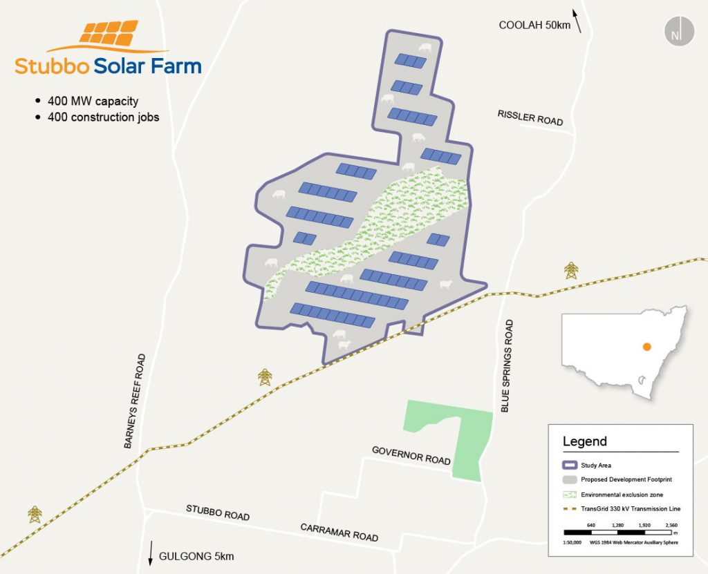 Stubbo Solar Farm location map